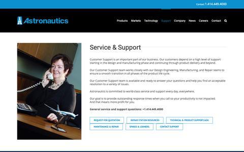 Screenshot of Support Page astronautics.com - Support – Astronautics - captured Oct. 4, 2018