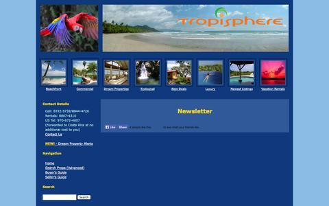 Screenshot of Signup Page tropisphere.com - Newsletter - Tropisphere Real Estate - captured Oct. 9, 2014