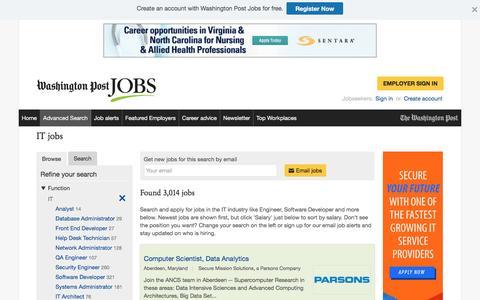 Screenshot of Jobs Page washingtonpost.com - IT jobs - captured Oct. 30, 2016