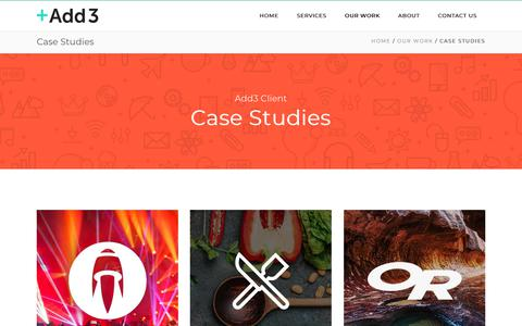 Screenshot of Case Studies Page add3.com - Case Studies   Add3 - captured March 27, 2019