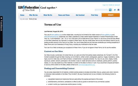 Screenshot of Terms Page ujafedny.org - Terms of Use » UJA-Federation of New York - captured Sept. 19, 2014