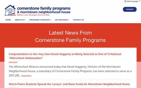Screenshot of Press Page cornerstonefamilyprograms.org - News | Cornerstone Family Programs - captured July 22, 2018