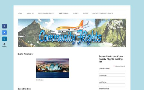 Screenshot of Case Studies Page communityflights.com - Case Studies Show Successful Community Flights Air Service Performance - captured July 20, 2018