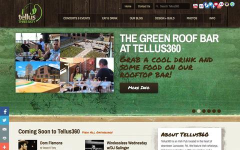 Screenshot of Home Page tellus360.com - Irish Pub & Music Venue in Lancaster PA | Tellus360 - captured Sept. 30, 2014