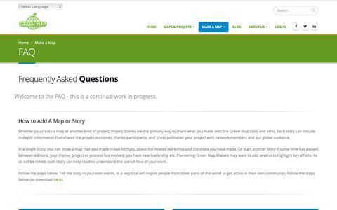 Screenshot of FAQ Page greenmap.org - FAQ | GreenMap.org - captured Dec. 16, 2018
