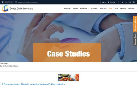 Screenshot of Case Studies Page goodsorderinventory.com - Case Studies - Goods Order Inventory System - captured Oct. 14, 2017