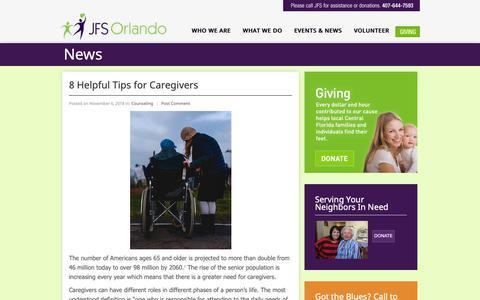 Screenshot of Blog jfsorlando.org - Jewish Family Services   » Blog - captured Dec. 8, 2018
