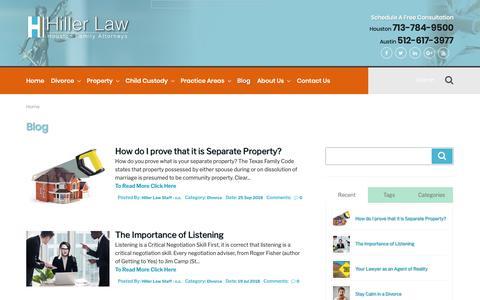 Screenshot of Blog hillerlaw.com - Blog | Houston & Austin Divorce Lawyers | Hiller Law - captured Sept. 28, 2018