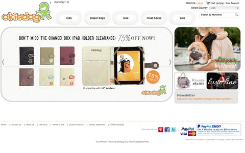 Screenshot of Home Page okiedog.us - Diaper Bag | Buy Baby Accessories Online In USA – Okiedog - :: okiedog-us :: - captured Sept. 24, 2014