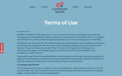 Screenshot of Terms Page campaigngears.com - Terms of Use - Campaign Gears - captured May 14, 2017