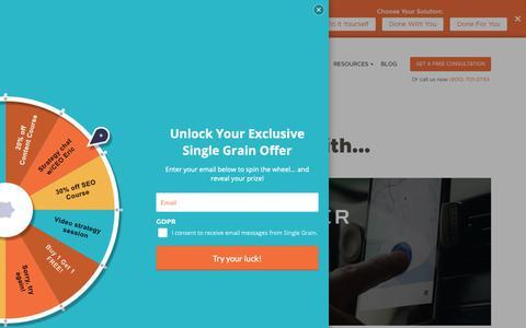 Screenshot of Case Studies Page singlegrain.com - Digital Marketing Case Studies - Single Grain - captured Nov. 3, 2018