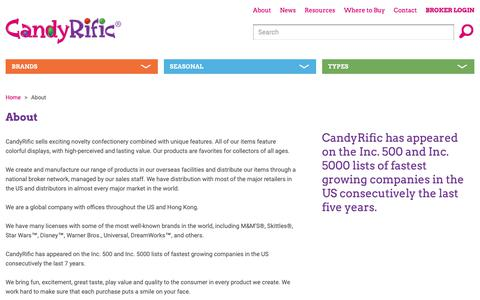 Screenshot of About Page candyrific.com - About Candyrific - captured Sept. 26, 2018