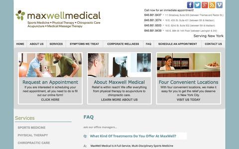 Screenshot of FAQ Page maxwellmed.com - FAQ | Maxwell Medical - captured Oct. 27, 2014
