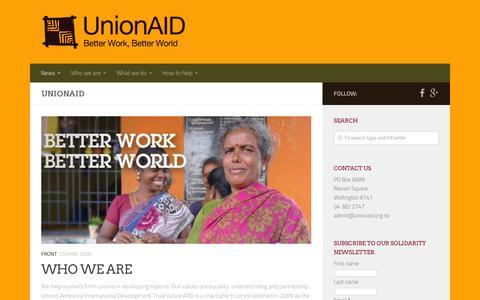 Screenshot of Press Page unionaid.org.nz - News – UnionAID - captured March 16, 2016