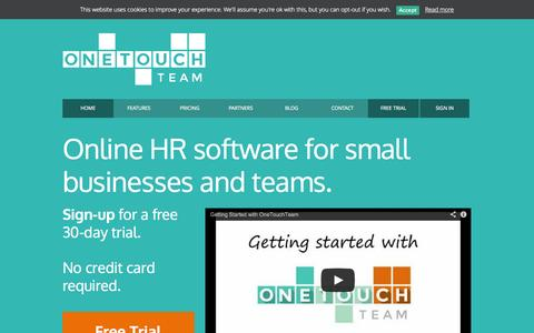 Screenshot of Home Page onetouchteam.com - Staff Holiday management tracking software | Managing Small Business Employees - captured Sept. 30, 2014