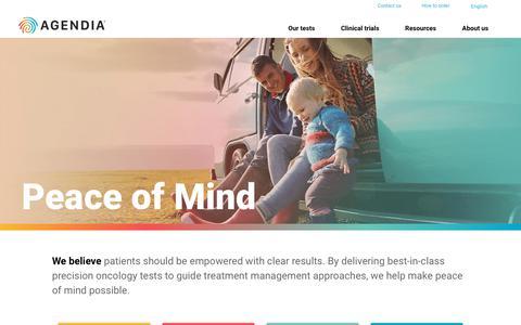 Screenshot of Home Page agendia.com - Home | Agendia - captured May 13, 2019