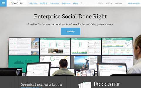 Screenshot of Home Page spredfast.com - Social Media Marketing & Management Software   Spredfast - captured July 17, 2017