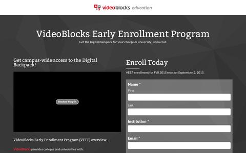 Screenshot of Landing Page videoblocks.com - VideoBlocks Early Enrollment Program - VideoBlocks - Education - captured Dec. 21, 2015