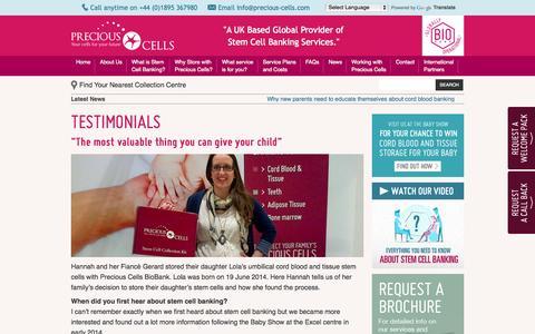 Screenshot of Testimonials Page precious-cells.com - Stem Cell Testimonials - captured Oct. 2, 2014