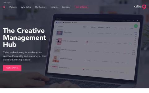 Screenshot of Home Page celtra.com - Celtra Creative Management Platform | Master Your Digital Ad Creative - captured Dec. 4, 2018