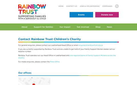 Screenshot of Contact Page rainbowtrust.org.uk - Contact Our Charity   Rainbow Trust Children's Charity   Rainbow Trust Children's Charity - captured Nov. 15, 2018