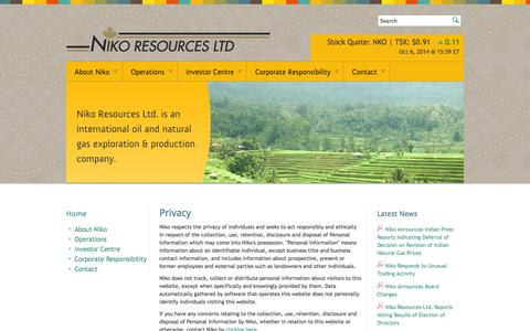 Screenshot of Privacy Page nikoresources.com - Privacy - Niko Resources - captured Oct. 7, 2014