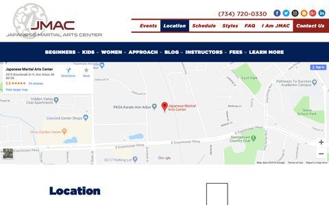 Screenshot of Maps & Directions Page japanesemartialartscenter.com - Find Us - Ann Arbor Martial Arts - Jiu-jitsu, Judo, Iaido, Karate -  Japanese Martial Arts Center - captured Dec. 8, 2018