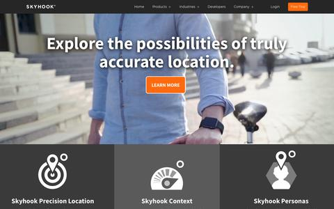 Screenshot of Products Page skyhookwireless.com - WiFi Based Location System Products | Skyhook - captured Jan. 26, 2018
