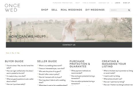 Screenshot of FAQ Page oncewed.com - Buy & Sell Used Wedding Dresses | Help - captured Sept. 14, 2019