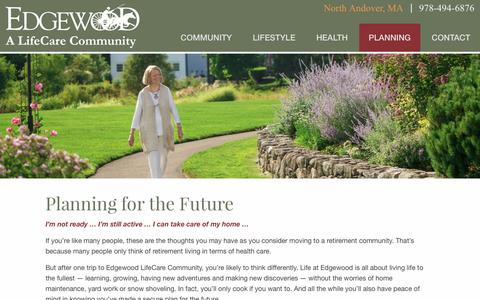 Screenshot of FAQ Page edgewoodrc.com - Planning | Edgewood | A LifeCare Community in North Andover, MA - captured Oct. 26, 2016