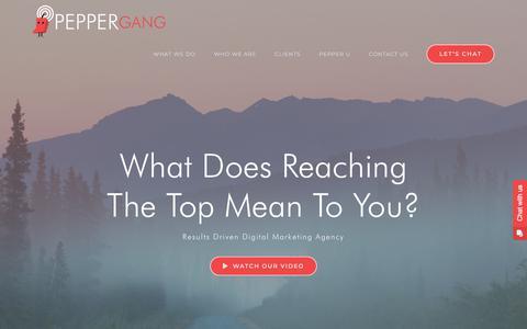Screenshot of Home Page peppergang.com - Pepper Gang Digital Marketing Agency - captured July 10, 2018