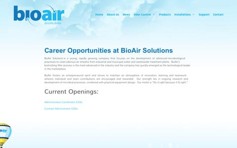 Screenshot of Jobs Page bioairsolutions.com - Career Opportunities at BioAir Solutions | BioAir Solutions, LLC - captured Oct. 10, 2017