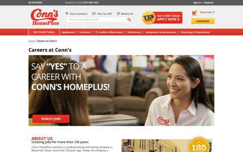 Screenshot of Jobs Page conns.com - Careers at Conn's - captured July 21, 2018