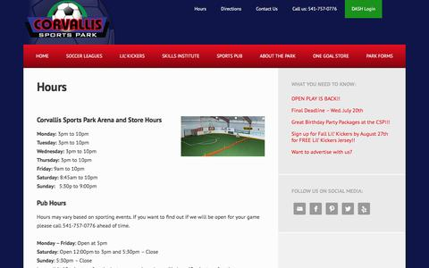Screenshot of Hours Page corvallissportspark.com - Hours - Corvallis Sports Park - captured July 19, 2016