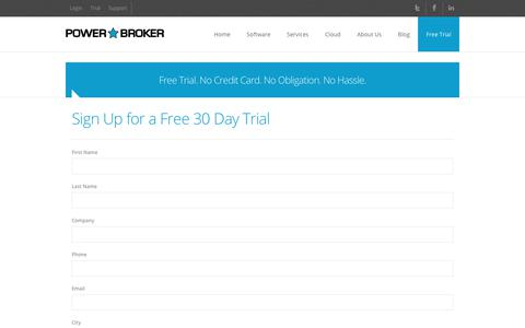 Screenshot of Trial Page powerbrokersoftware.com - Power Broker » Free Trial - captured July 20, 2018