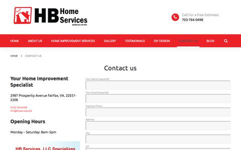 Screenshot of Contact Page hb-service.biz - Contact Us HB Home Services | Northern VA Home Remodeling | HB Home Services - captured Sept. 25, 2018