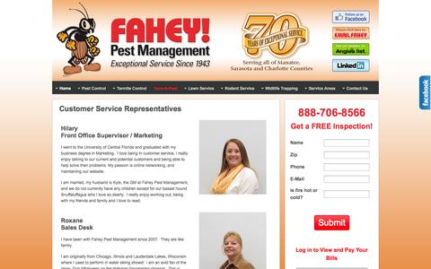 Screenshot of Support Page faheypest.com - Customer Service Representatives | Fahey Pest Management - captured Oct. 5, 2014