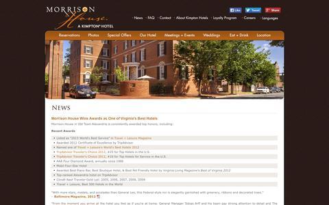 Screenshot of Press Page morrisonhouse.com - Alexandria Hotel Reviews | Morrison House News & Reviews - captured Oct. 26, 2014
