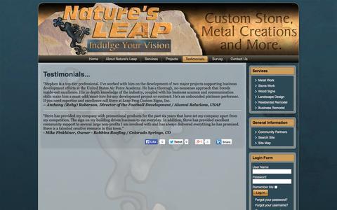 Screenshot of Testimonials Page naturesleap.com - Testimonials - NaturesLeap - captured Oct. 1, 2014