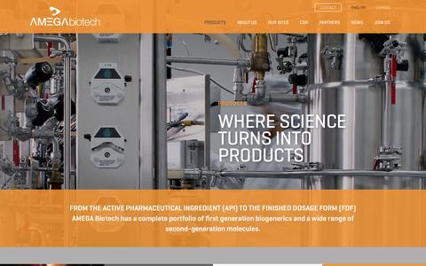 Screenshot of Products Page amegabiotech.com - Amega |   Products - captured Nov. 1, 2016