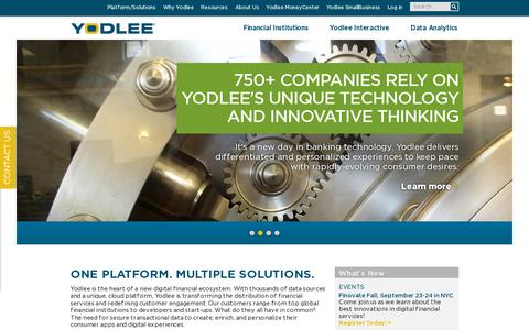 Screenshot of Home Page yodlee.com - Yodlee : Personal Financial Management Platform For Banks & Consumers - captured July 11, 2014