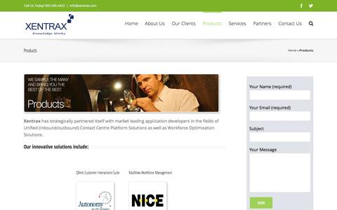 Screenshot of Products Page xentrax.com - Products - Xentrax Customer Interaction Solutions - captured Nov. 28, 2016