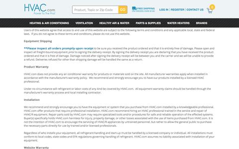 Screenshot of Terms Page hvac.com - Air Conditioner Warranty - HVAC Terms and Conditions - captured Jan. 21, 2016