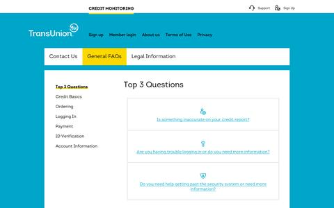 Screenshot of Support Page transunion.com - Online Personal Credit Reports & Credit Scores - TransUnion Credit Monitoring - captured Oct. 24, 2018