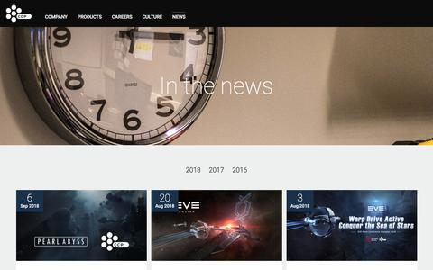 Screenshot of Press Page ccpgames.com - News - CCP Games - captured Sept. 25, 2018