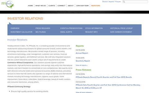 Investor Relations - PFSweb, Inc.