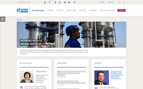 Screenshot of Jobs Page gazprom-neft.com - Careers — Gazprom Neft PJSC - captured Nov. 1, 2018