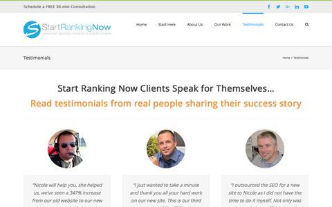 Screenshot of Testimonials Page startrankingnow.com - Start Ranking Now Client Testimonials - captured Dec. 15, 2016