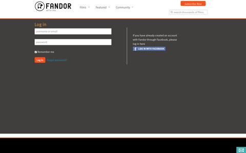 Screenshot of Login Page fandor.com - Log in - captured Nov. 18, 2015