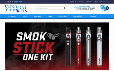 Screenshot of Home Page centralvapors.com - Central Vapors Best eJuice eLiquid - Buy American ECigs Online - captured July 9, 2017